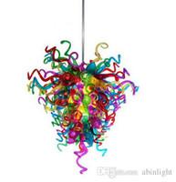 Multi cor artesanal soprado chandeliers casa decoração LED fonte de luz murano vidro candelabro