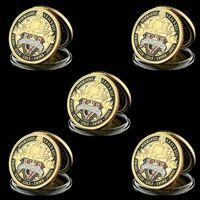 5 قطع تحدي عملة كرافت 70th ذكرى معركة نورماندي ميدالية الجيش العسكرية 1 أوقية مطلية بالذهب شارة تحصيل