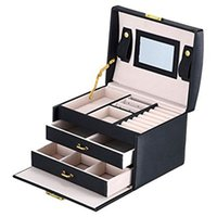Black Color PU Leather Jewelry Packaging Box With 2 Drawers ...