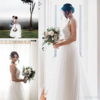 Vintage Boho A- line Wedding Dresses 2019 Retro Halter Lace T...