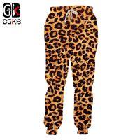 OGKB Basculador Calças Homme Moda Longo Animal 3D Calças de Impressão Leopardo Sweatpants Streetwear Oversized Garment Man Calças de Outono Y19061001