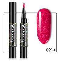 Pen-Stylo à ongles Polonais 3 en 1 Glitter Gel Crayon Crayon Gel UV Gel Polonais Vernis Stylo Nail Art Manucure 16 couleurs