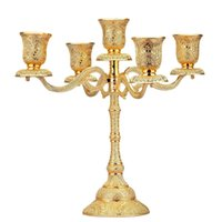 Metal Candle Holder Stand Candelabra Taper Golden Candlestic...
