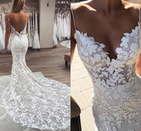 Spaghetti Straps Lace Mermaid Wedding Dresses 2021 Sexy Open Back Beaded Bridal Gowns Boho Beach Court Train Marriage robes de mariée AL2096