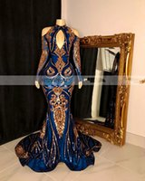 Royal Blue Mermaid Abendkleider 2020 Modest Sparkly GoldPaillette Applikationen hohe Ansatz lange Hülse Anlass Abendgarderobe Kleid