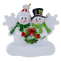 Familia del muñeco de resina 2 colgar adornos de Navidad con brillo como recuerdos del arte para los regalos personalizados o decoraciones para el hogar