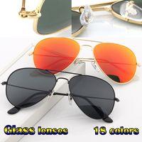خمر الطيار الرجال النساء 58mm و62mm وUV400 الطيران مرآة مرآة زجاج عدسة النظارات الشمسية مع حالات قيادة السيارات