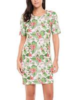 Vestidos casuais zeagoo feminino floral impresso manga curta verão t-shirt mini