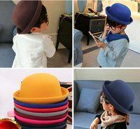 Meninas Hat Fedora Dome cap crianças se vestem chapéus crianças tampas de chapéus de feltro de lã feltragem chapéus-coco Mulheres Formal Hat Homens Stingy aba do chapéu
