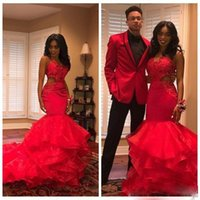 Red Mermaid Prom Dresses Spaghetti Lace Appliques Cutaway Si...