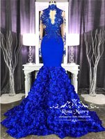 Royal Blue 3D Floral Mermaid Prom Dresses 2K19 High Neck Lac...