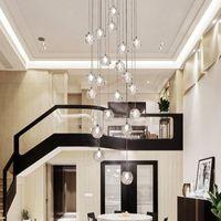 Entraiche linéaire Longue Lobby Crystal de luxe LED Moderne Dinning Shair Crystal Staircase Lustre Lumière pour hauts plafonds