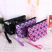 Large capacity PU womens cosmetic bag Geometric Folding Ling...