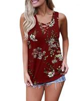 Designer-Weste-Frauen-Sommer-T-Shirts Kühlen Ärmel Sexy Tops Frauen tragen Außerhalb Mode Damenkleidung Weste mit Blumenmustern mit V-Ausschnitt