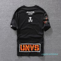 T-shirt casual Mens Abito firmato Camicia Bianca Arancione nero taglia S-XXL Miscela del cotone girocollo manica corta stampa del fumetto YE08