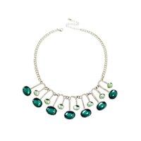 Moda Chic elegante Music Note Necklace Collar Gems Pingente Espumante Jewels Choker Artificial Emerald Franjas