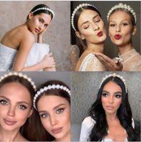 Ins Moda temperamento Headband líquido vermelho com o mesmo parágrafo selvagem noiva modelos pérola headband vintage casamento nupcial mulheres headpiece