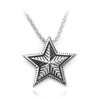 Supernatural Vintage Retro Convex Pentagram Casting Metal Pendant Necklace Women Men Amulet Five-pointed star Pendants Bijoux