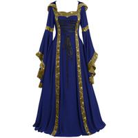 Vestidos casuales Talla grande Vestido de verano Mujeres 2021 Vintage Vintage Medieval Longitud Renacimiento Gótico Cosplay Robe Femme