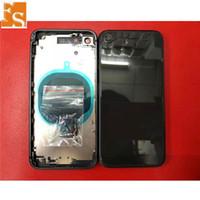 Düğme + SIM Tary ile Arka Kapak iPhone 8 8 Artı Kırmızı Konut Pil Kapağı Arka Kapı Orta Çerçeve Şasi Montaj Parçaları