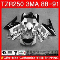 Corps pour YAMAHA TZR250 3MA TZR 250 RS RR YPVS TZR250RR 118HM.105 TZR-250 88 89 90 91 TZR250 1988 1989 1990 1991 Kit carénage blanc noir