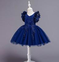 Bordados niña vestido de flores de pétalos manga de la princesa de los vestidos de fiesta de la boda ropa de bebé 2-12Y E881