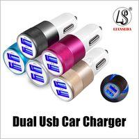 Металл двойной USB порт автомобильное зарядное устройство универсальный 2.1 A Led зарядное устройство адаптер для 6 7 8 Samsung S8 Tablet Nokia