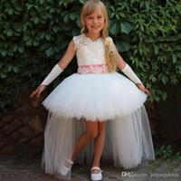 Çin'den ucuz Wedding Kolsuz kabarık tül etek ile 2020 Dantel Abiye Çiçek Kız Elbise