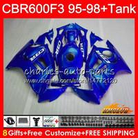 Body + réservoir pour HONDA CBR 600F3 600CC CBR600 F3 95 96 97 98 41HC.120 CBR 600 FS F3 CBR600FS CBR600F3 1995 1996 1997 1998 Carénage bleu brillant