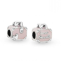 New Authentic 100% 925 Sterling Silver Beads Charm Pink Travel Bag Amore viaggi Charms Fit Bracciali Pandora Fai da te Gioielli delle donne