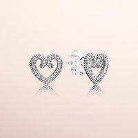Gerçek 925 Ayar Gümüş CZ Elmas kalp Küpe Seti Orijinal Kutusu Pandora Kalp Swirls Saplama Küpe Kadınlar Kızlar için Düğün takı