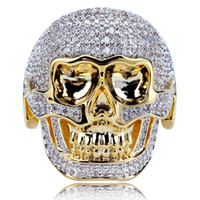Men' s Hip Hop Gold Jewelry Punk Skull Ring Natural Whit...