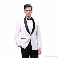 Cheap And Fine One Button Groomsmen Shawl Lapel Groom Tuxedos Men Suits Wedding Prom Dinner Best Man Blazer(Jacket+Pants+Tie) A257