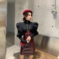diseño de la moda de primavera nuevas mujeres de cuello alto de manga farol largo retro estilo real del bodycon tapas de la blusa túnica