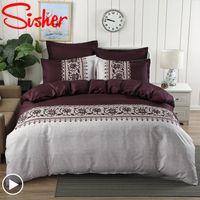 Sisher Literie Bohemian imprimé floral couette Ensembles de couverture Linge de lit simple housses de couettes Reine taille King Vêtements de lit