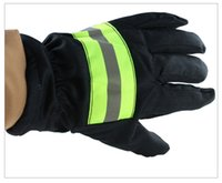 Guantes resistentes al fuego resistencia al desgaste y antideslizante guantes gruesos de seguridad reflectante Correa fuego guantes protectores resistentes para Bombero del envío gratis