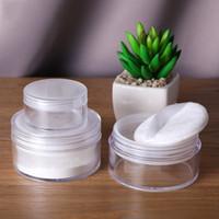 20g / 50g leere Reise-Puder-Hülle Kosmetikdose aus durchsichtigem Kunststoff Make-up lose Puder-Box-Hülle Behälterhalter mit Sichterdeckeln und Puderquaste