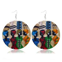 Hot Individuality geometric round wood earrings single- sided...