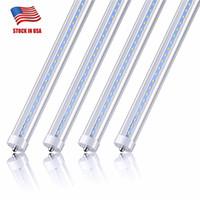 8FT LED 전구 45W (100w Equiv) 듀얼 엔드 전원 밸러스트 바이 패스 4800lm 6000k 멋진 흰색 깨끗한 커버 T8 T10 T10 형광등 전구