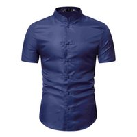 Mens Hipster Chinese Style Mandarin Collar Dress Shirt Summe...