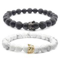 Naturstein Perlen Armband für Frauen Krone Charme Lava Stein Armbänder Elastische Armreif Yoga Schmuck für Freunde Geschenk
