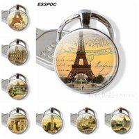 سلسلة مفتاح الموضة في باريس برج ايفل قوس النصر كاتدرائية نوتردام فرساي متحف اللوفر صورة الزجاج قلادة معدنية سلسلة المفاتيح