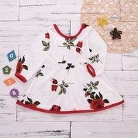 Baby Mädchen Kleid Rose Blume Gedruckt Dünne lange Ärmel Kleider Kleinkind Valentinstag Prinzessin Kleid Baumwolle Neue 2019