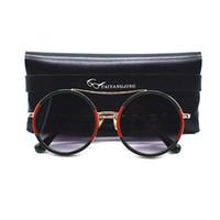 Wholesale lunettes de soleil vintage femmes avec sac double poutres lunettes rondes de marque de marque métal cadre métal lunettes lunettes gafas de sol mujer