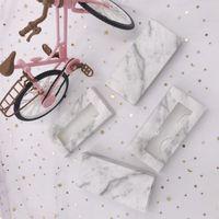 Caixa de cílio vazio ajuste diferentes cílios 3D 5D chicoteia caixa de mármore com caixa de pacote do cliente da bandeja