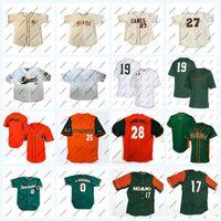 Cucito 0 Javier Rodriguez Miami Hurricanes NCAA College Baseball Jersey per Mens Womens Youth Doppio nome cucito e numero personalizzato