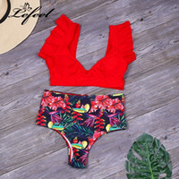 Lefeel Sexy Print Bikinis Set Women High Waist Ruffle Bathin...