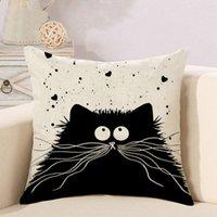 Gato Almohada venta al por mayor de dibujos animados linda Totoro 6 colores de una cara de impresión de inicio personalizable lino sofá dormitorio almohada DH0572 T03