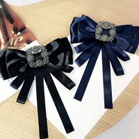 Mode de luxe strass Femmes Pins Vintage Bow satin noeud Broches de soirée de mariage Femme Pins Grande Taille