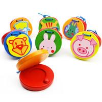Изысканный деревянный Орф музыкальный инструмент мультфильм животных круглый кастаньеты игрушки просветление головоломки обучающие игрушки детские оптом